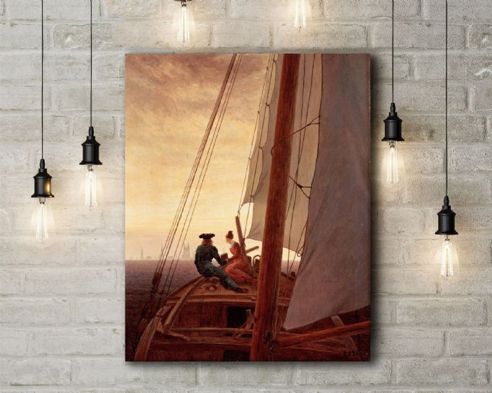 Casper David Friedrich: On Board a Sailing Ship. Fine Art Canvas.